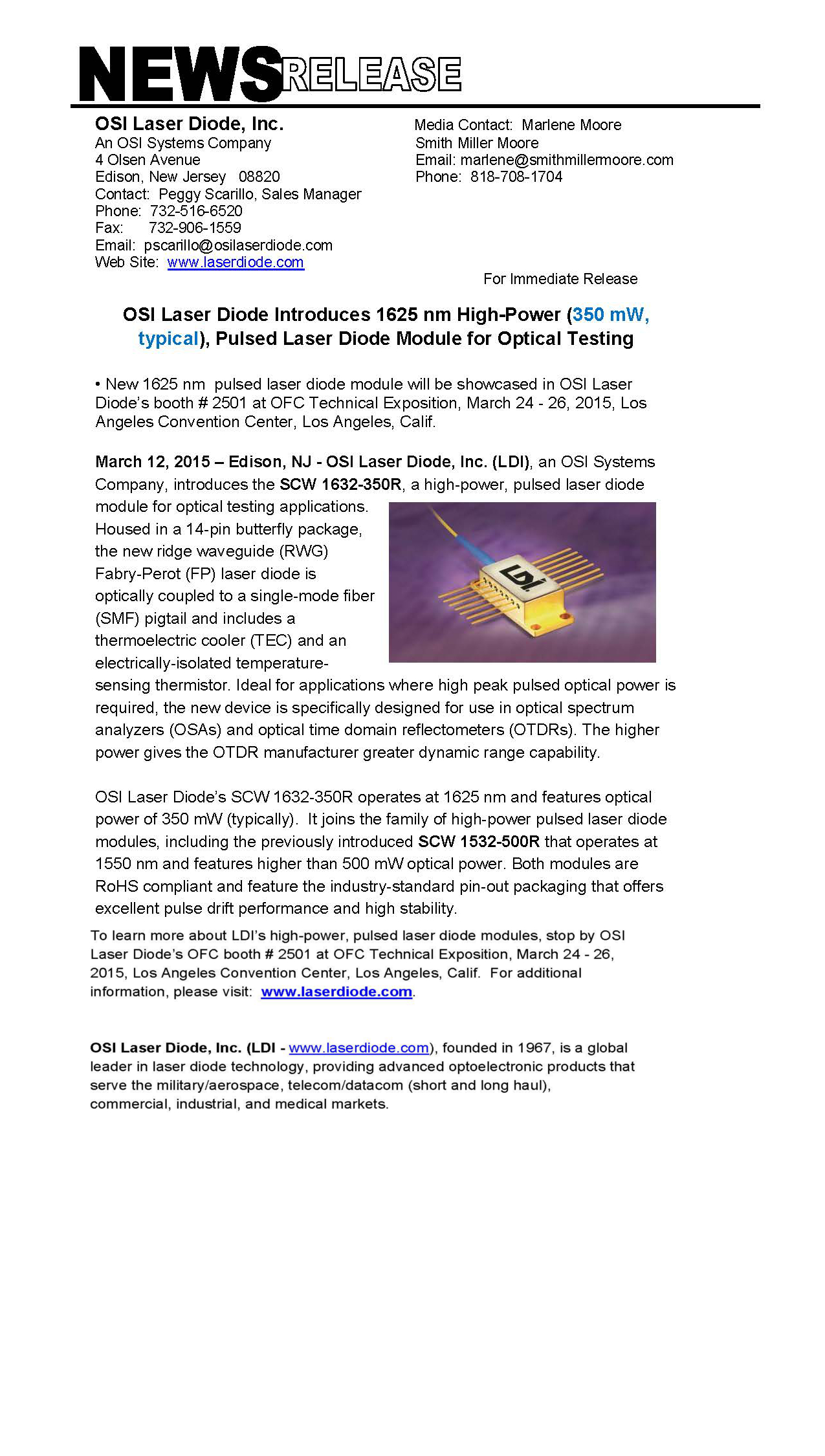 OSI Laser Diode Introduces 1625 nm High-Power (350 mW, typical), Pulsed Laser Diode Module