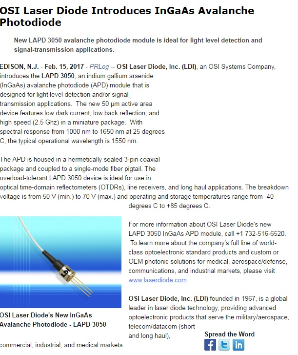 OSI Laser Diode Introduces InGaAs Avalanche Photodiode