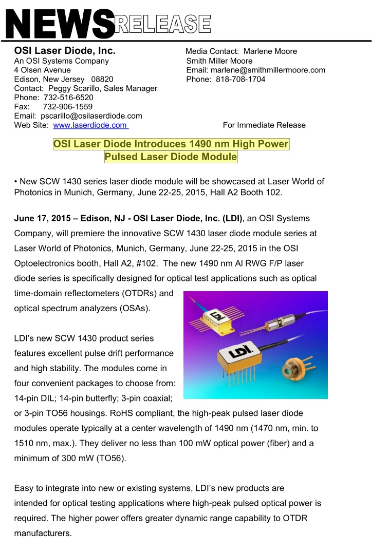 OSI Laser Diode Introduces 1490 nm High Power Pulsed Laser Diode Module